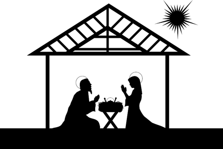 free illustration: nativity scene