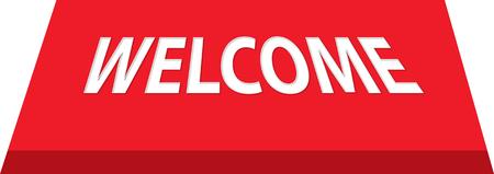 wooden vector mesh: welcome mat in red