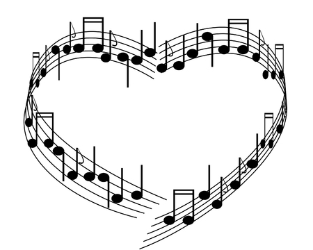 stock clipart icons: Music of love. Illustration