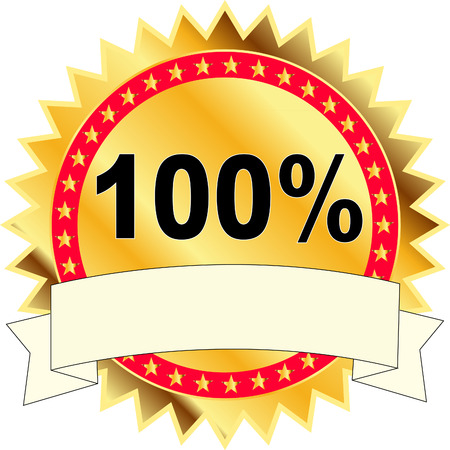 satisfaction guaranteed: 100% SATISFACTION guaranteed gold label with ribbon vector illustration