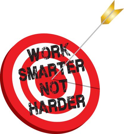 Work Smarter pas plus dur Objectif Flèche cible efficace Vecteurs