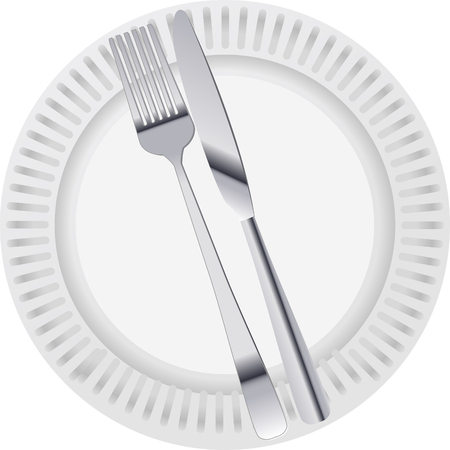 Plate with knife and fork Illustration