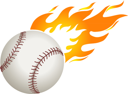 outfielders: Baseball with flames