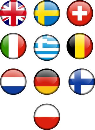 European Icons Round Flags Illustration