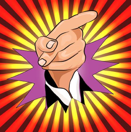 militant: pointing finger