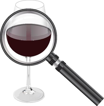 vitis: red wine magnifing glass Illustration