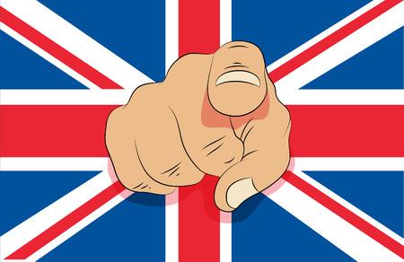 u k: Union jack and pointing finger