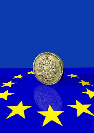 pound coin: Pound coin and euro flag