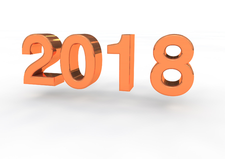 turn of the year: 2018 gold 3d