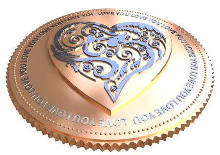 Gold heart coin