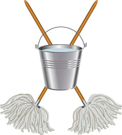 Mop and bucket Illustration