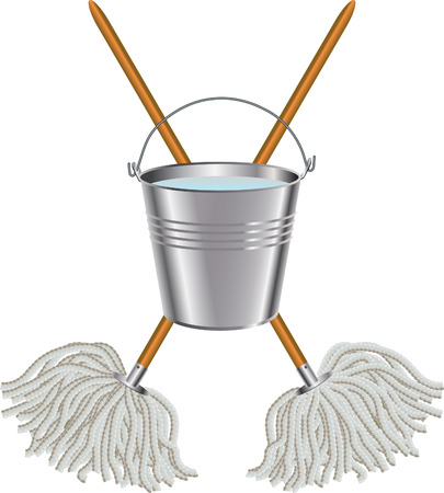 Mop and bucket Illustration