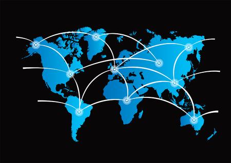 vanishing point: world communication map Illustration