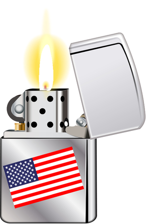 brushed steel: lighter with USA flag Illustration
