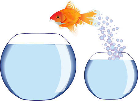 Two fish bowls with goldfish jumping Illustration