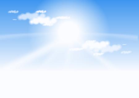 Blue sky and sun Ilustração