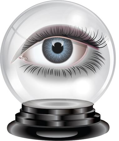 Bola de cristal con el ojo Foto de archivo - 77445160