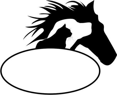 Logotipo del caballo del perro del gato
