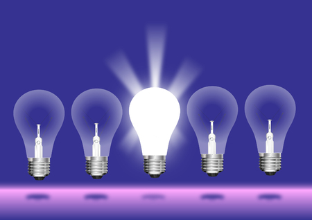Glowing light blub concept Illustration