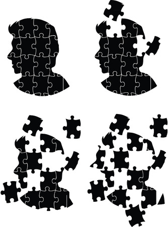 Homme tête de puzzle
