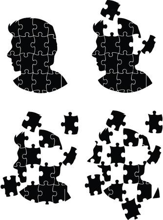 jigsaw head man 矢量图像