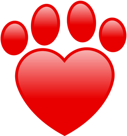 Heart paw print Illustration