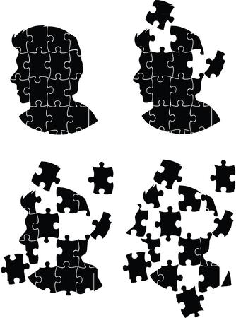 is troubled: Jigsaw head silhouette