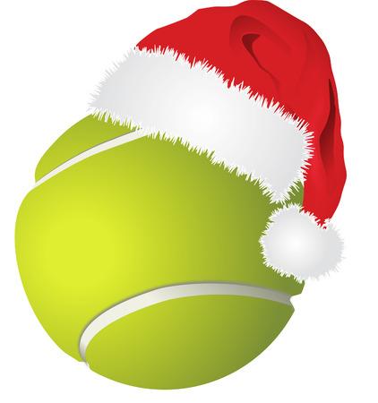 tennis Ball with santa hat