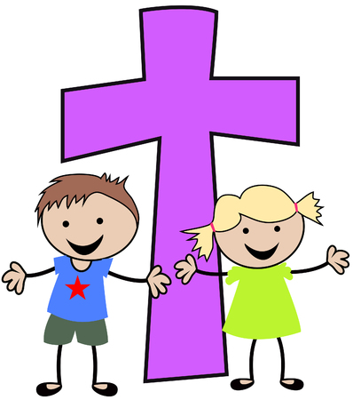Christian children with cross