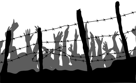 refugees vector illustration