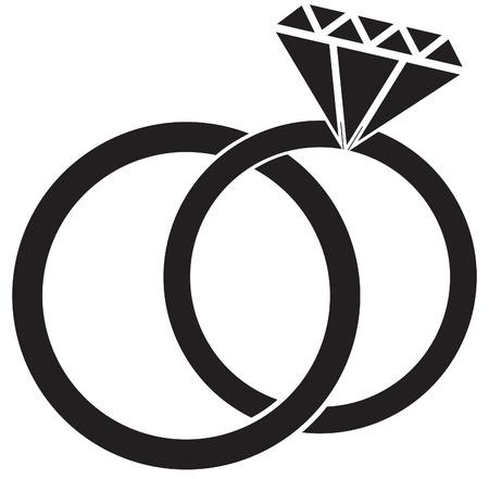 Wedding ring silhouette 矢量图像