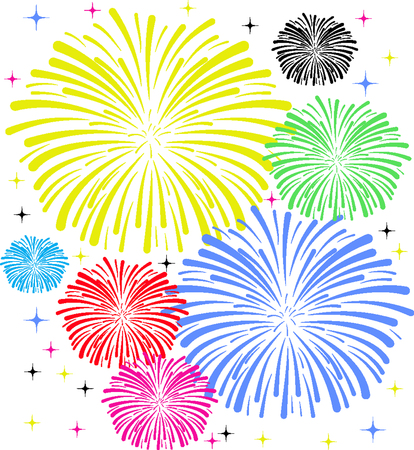 A fireworks display on white background.