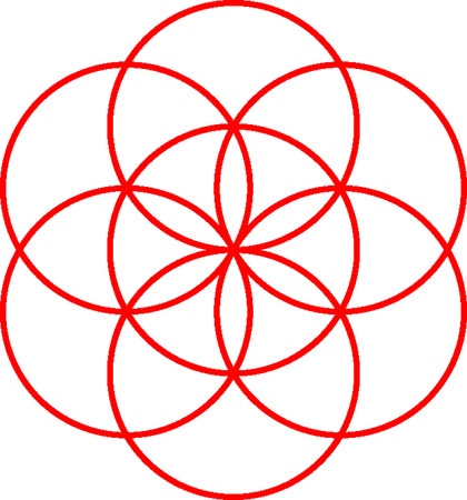A seed of life symbol on white background.