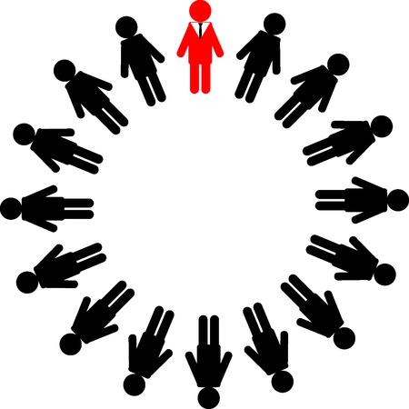 administrador de empresas: Un círculo de jefe y trabajador sobre fondo blanco. Vectores