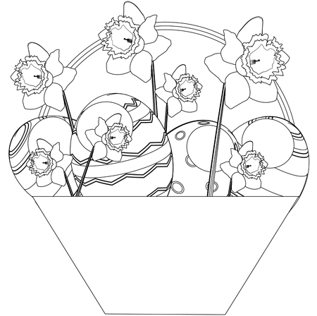 Children coloring book Easter basket. Illustration