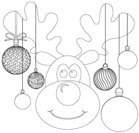 grooves: Children coloring book Rudolph with baubles.