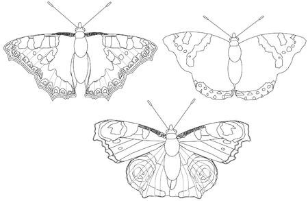 childrens coloring book Buterfly Ilustração