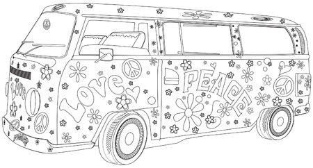 childrens coloring book Hippy Van