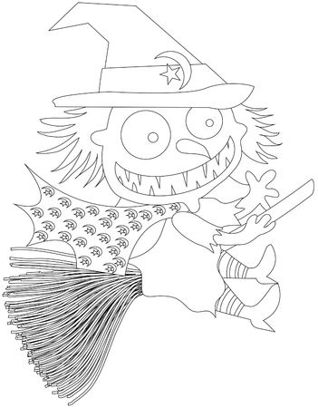 Childrens Coloring Book Witch Royalty Free Cliparts, Vectors, And ...