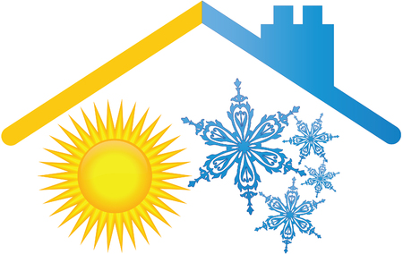 fire and ice: Sun and snowflake roof logo