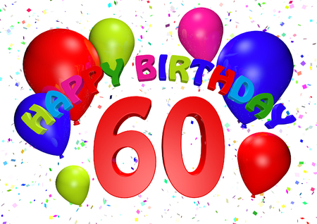 60 Birthday 3D Render Stock Photo