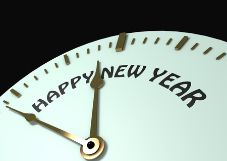 Happy New Year Clock face Stock Photo