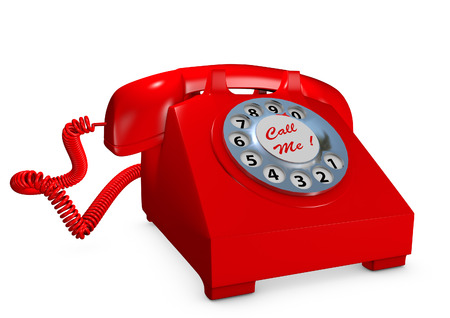 Old style red telephone Stock Photo
