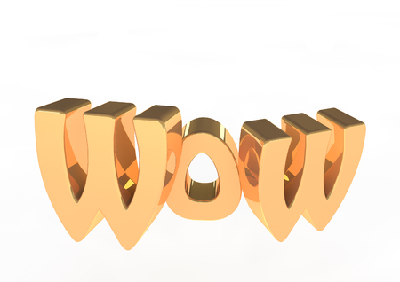 Wow 3d lettering Stock Photo