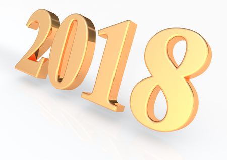 2018 3D render lettering Stock Photo