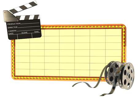 Clapper board film reels and screen Stock Photo