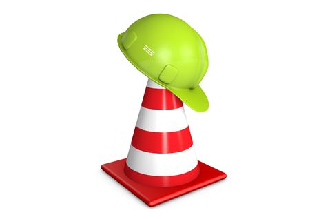 Traffic cone and hard hat Stock Photo