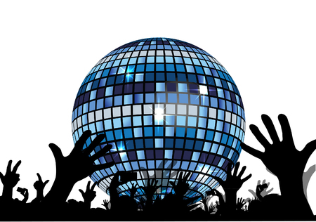 Disco ball and ravers Stock Photo