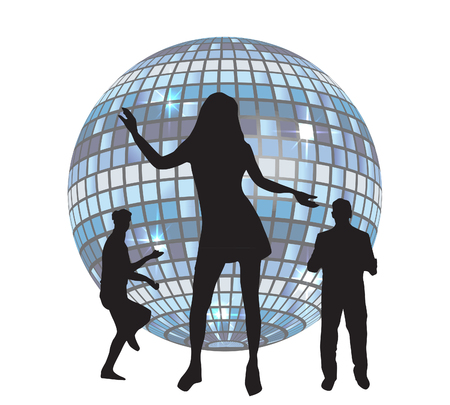 Disco ball and dancing girl