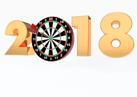 2018 dartboard 3D render Stock Photo